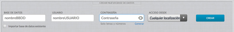 captura de pantalla de creación de base de datos MySQL