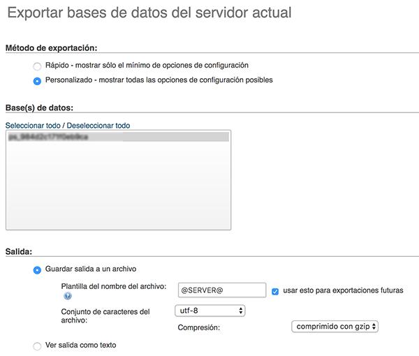 pantallazo exportar base de datos phpMyAdmin